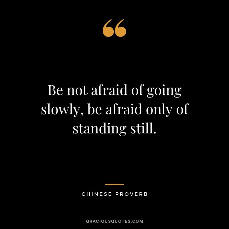 Be not afraid of going slowly, be afraid only of standing still. - Chinese Proverb