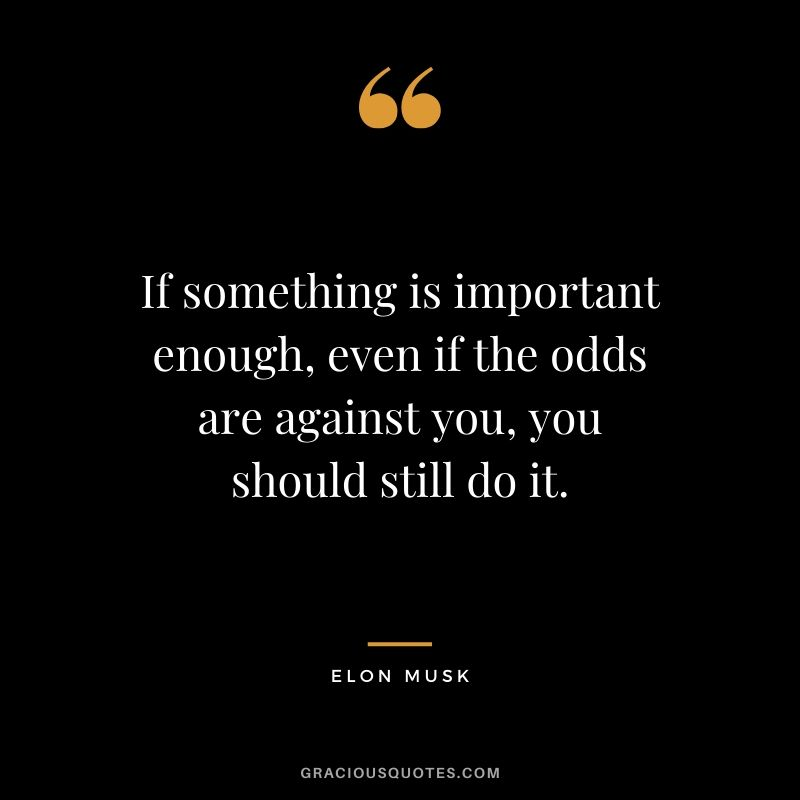 If something is important enough, even if the odds are against you, you should still do it. - Elon Musk