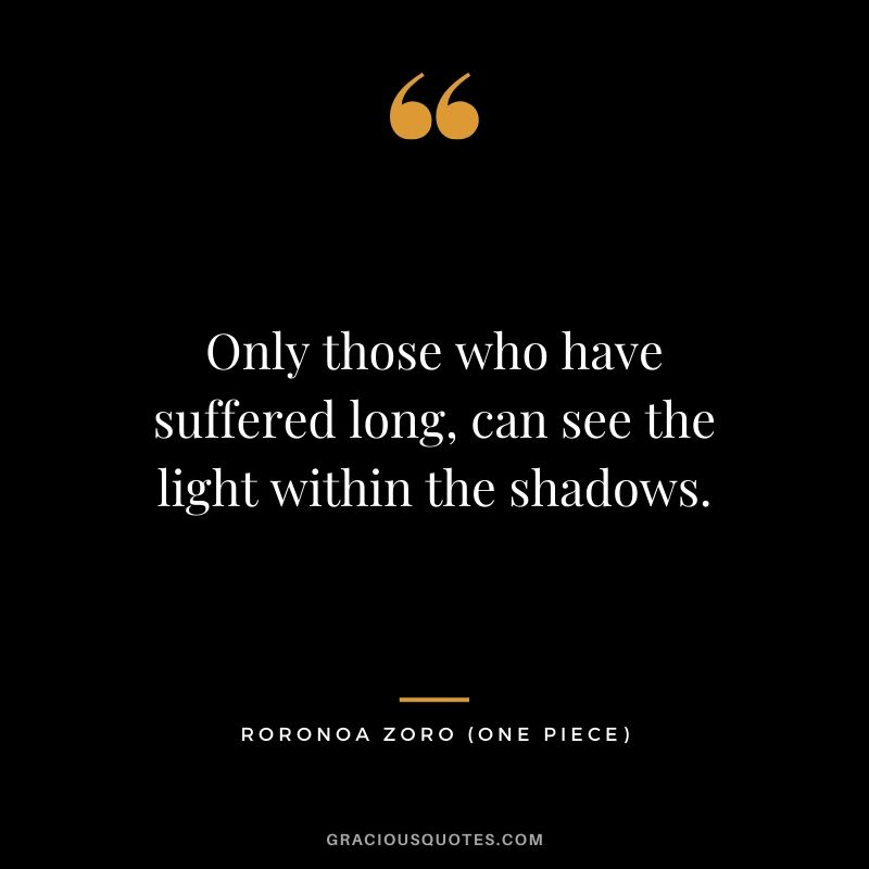 Only those who have suffered long, can see the light within the shadows. - Roronoa Zoro (One Piece)