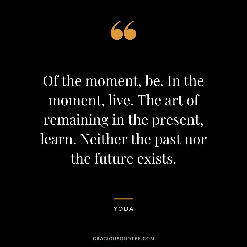 Of the moment, be. In the moment, live. The art of remaining in the present, learn. Neither the past nor the future exists.