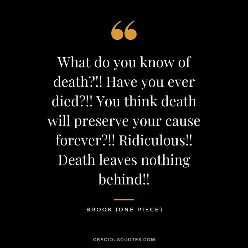 What do you know of death?!! Have you ever died?!! You think death will preserve your cause forever?!! Ridiculous!! Death leaves nothing behind!! - Brook