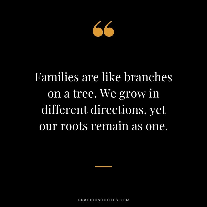 Families are like branches on a tree. We grow in different directions, yet our roots remain as one.