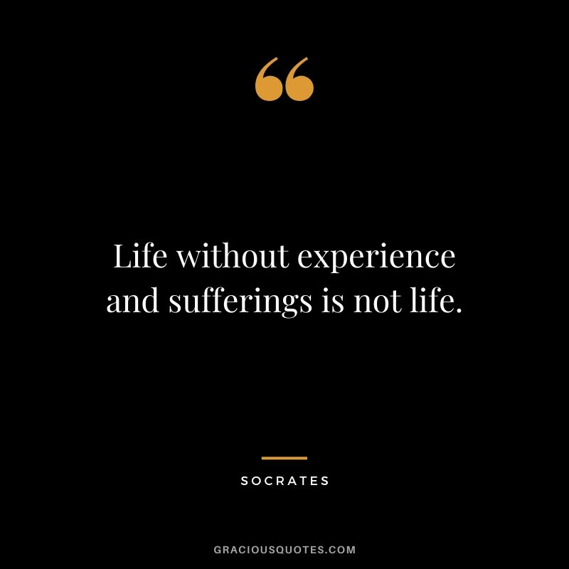 Life without experience and sufferings is not life. - Socrates
