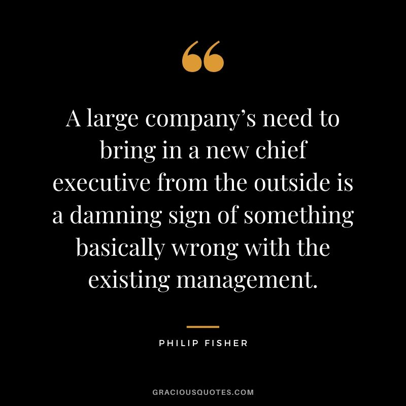 A large company's need to bring in a new chief executive from the outside is a damning sign of something basically wrong with the existing management.