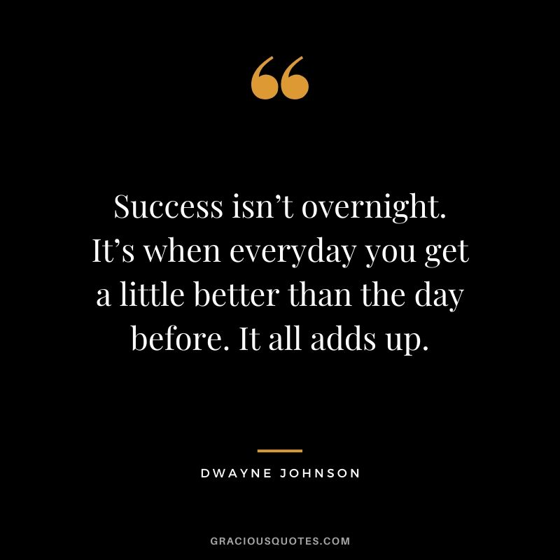 Success isn't overnight. It's when everyday you get a little better than the day before. It all adds up.