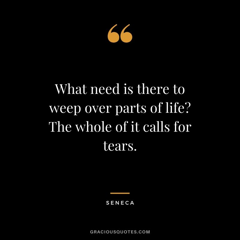 What need is there to weep over parts of life? The whole of it calls for tears.