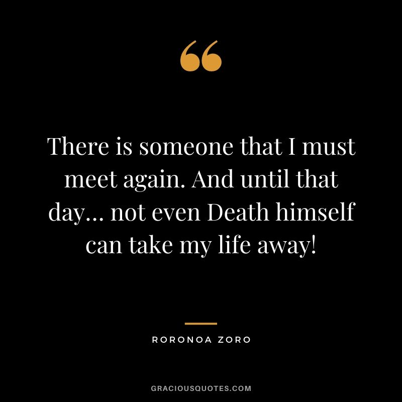 There is someone that I must meet again. And until that day… not even Death himself can take my life away!