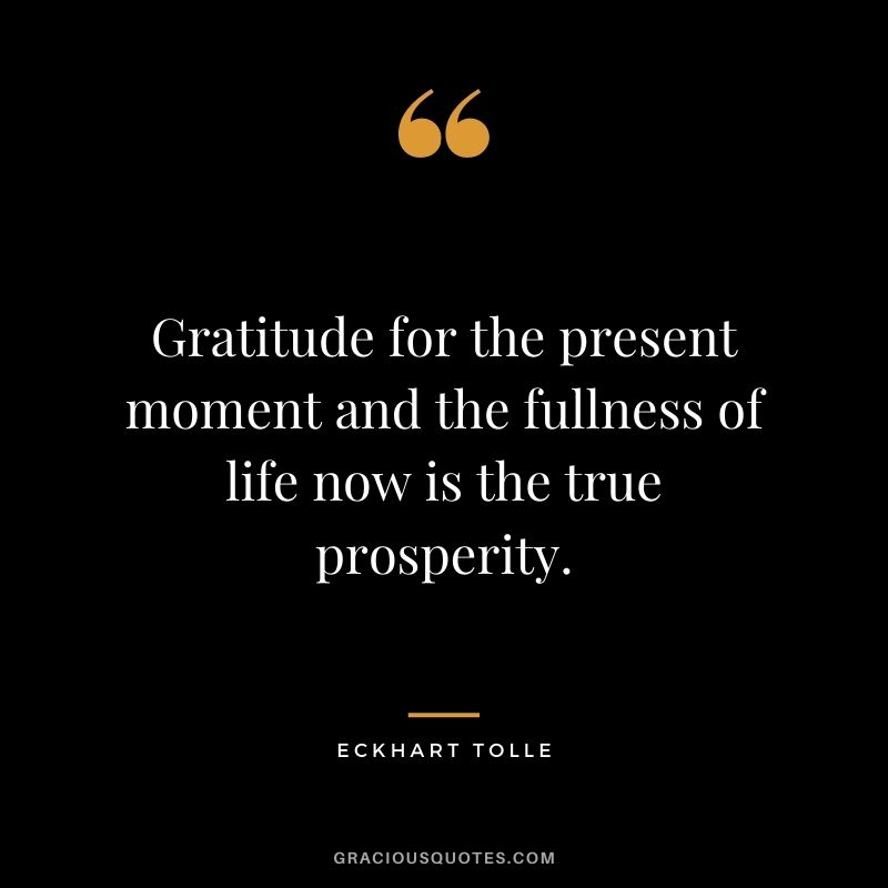 Gratitude for the present moment and the fullness of life now is the true prosperity. - Eckhart Tolle