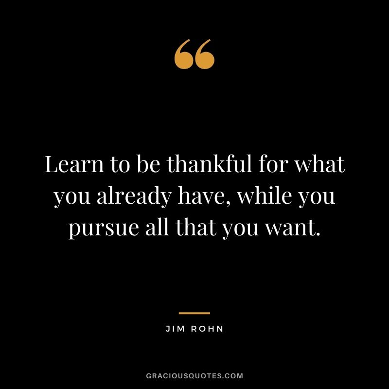 Learn to be thankful for what you already have, while you pursue all that you want. - Jim Rohn