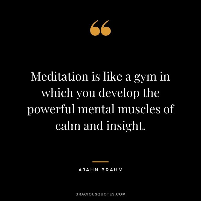 Meditation is like a gym in which you develop the powerful mental muscles of calm and insight. - Ajahn Brahm