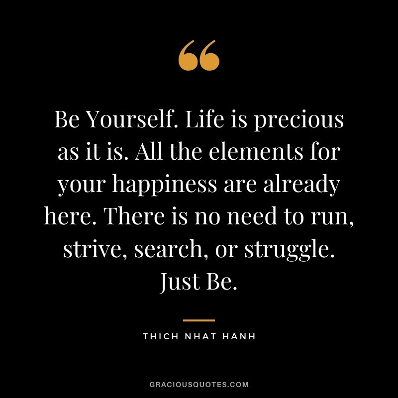 Be Yourself. Life is precious as it is. All the elements for your happiness are already here. There is no need to run, strive, search, or struggle. Just Be.