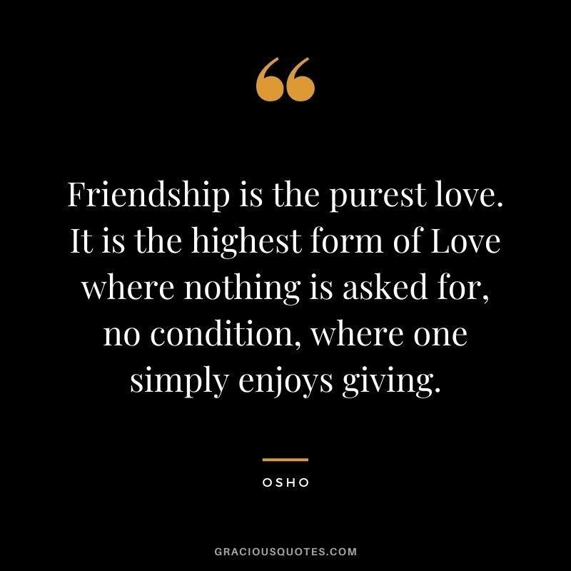 Friendship is the purest love. It is the highest form of Love where nothing is asked for, no condition, where one simply enjoys giving.