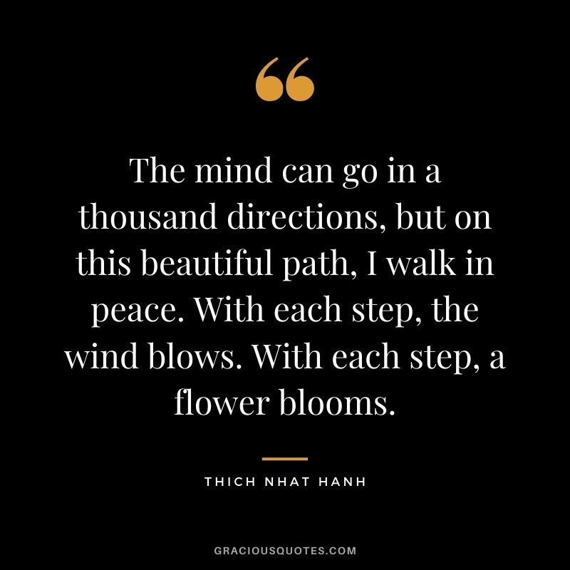 The mind can go in a thousand directions, but on this beautiful path, I walk in peace. With each step, the wind blows. With each step, a flower blooms.