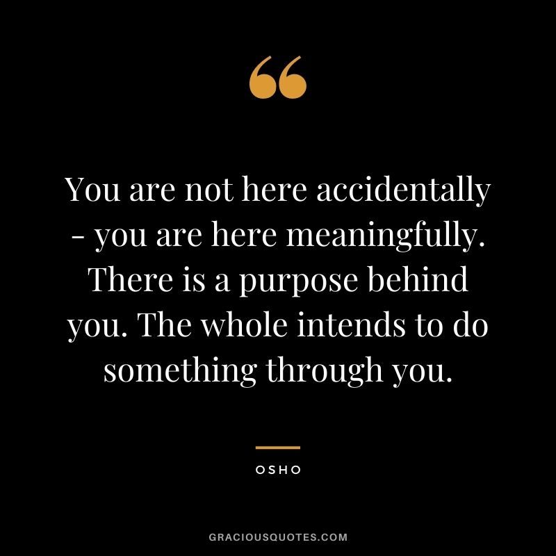 You are not here accidentally - you are here meaningfully. There is a purpose behind you. The whole intends to do something through you.