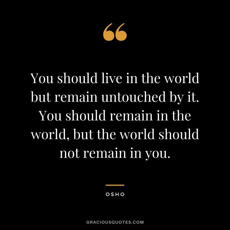 You should live in the world but remain untouched by it. You should remain in the world, but the world should not remain in you.