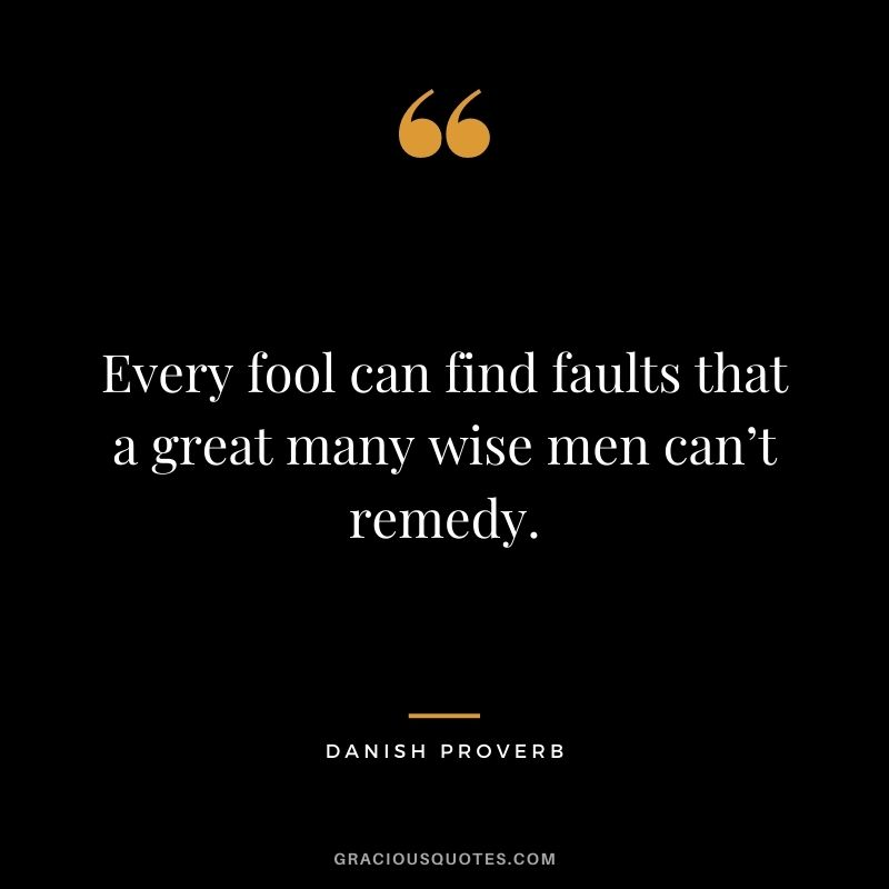 Every fool can find faults that a great many wise men can't remedy.