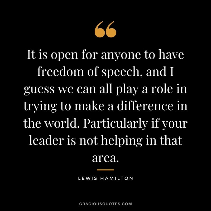 It is open for anyone to have freedom of speech, and I guess we can all play a role in trying to make a difference in the world. Particularly if your leader is not helping in that area.