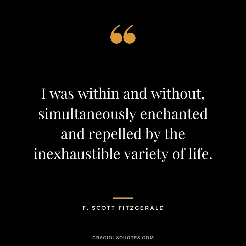I was within and without, simultaneously enchanted and repelled by the inexhaustible variety of life.