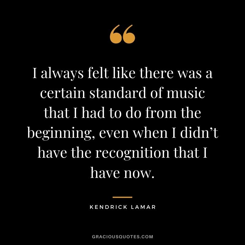 I always felt like there was a certain standard of music that I had to do from the beginning, even when I didn't have the recognition that I have now.